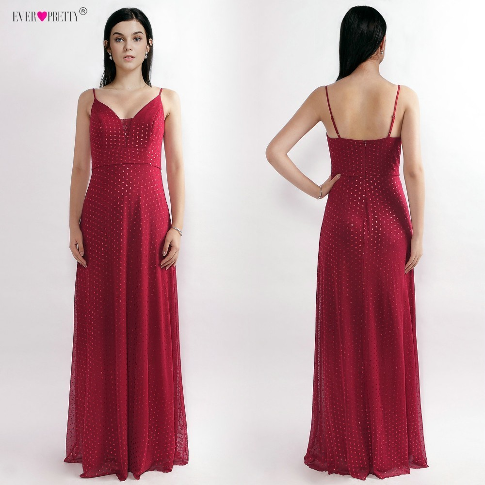 Sequined Long Bridesmaid Dresses Deep V-Neck vestido de festa longo Ever Pretty Red A Line Wedding Party Gowns With Open Back