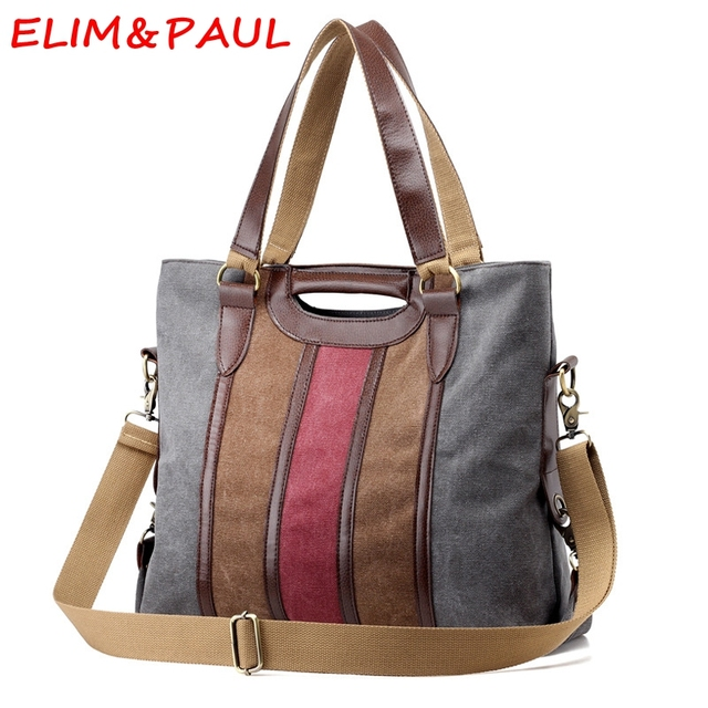 8435e5d385 ELIM PAUL Woman Hand bags Designers Brand Grey Luxury Handbags Women Bags  Designer Striped High Quality Canvas Ladies Hand bags