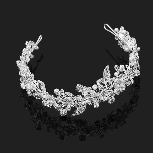 504d19cb499f Великолепный горный хрусталь ручная работа серебро диадема невесты Тиара  короны ...