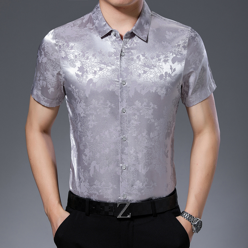 High Quality Mens Summer Floral Silk Clothes Shirt Elegant Male Short Sleeve Soft Silk Dress Shirts