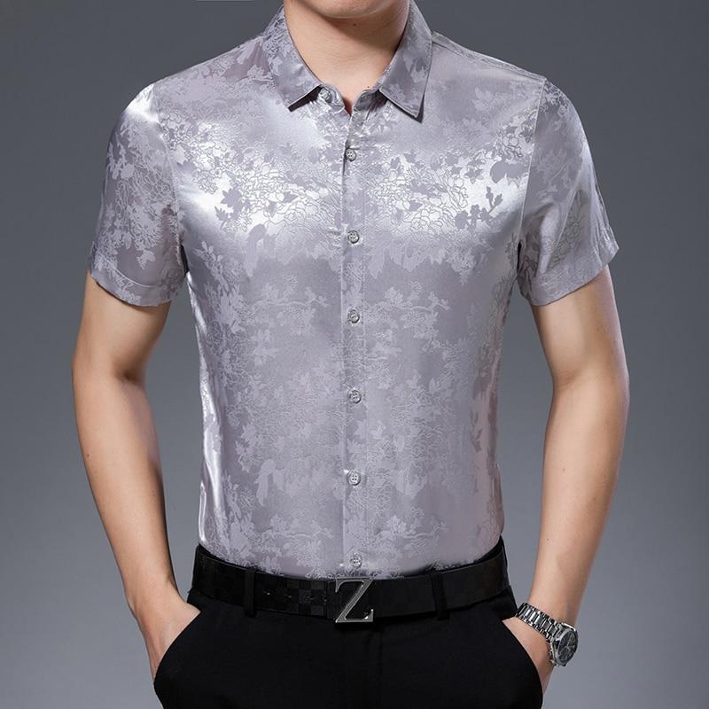 High Quality Mens Summer Floral Silk Clothes Shirt Elegant Male Short Sleeve Soft Silk Dress Shirts