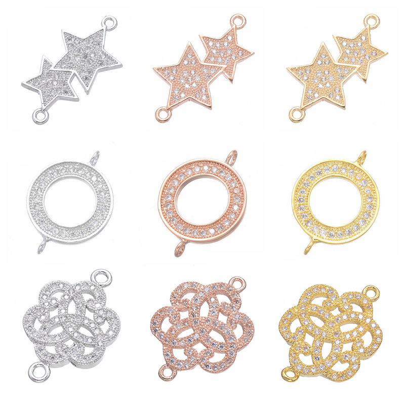 Juya DIY Women's Jewelry Accessories Supplies 2 Loops Charms Gold/Silver/Rose Gold Connectors For Bracelets Earrings Making