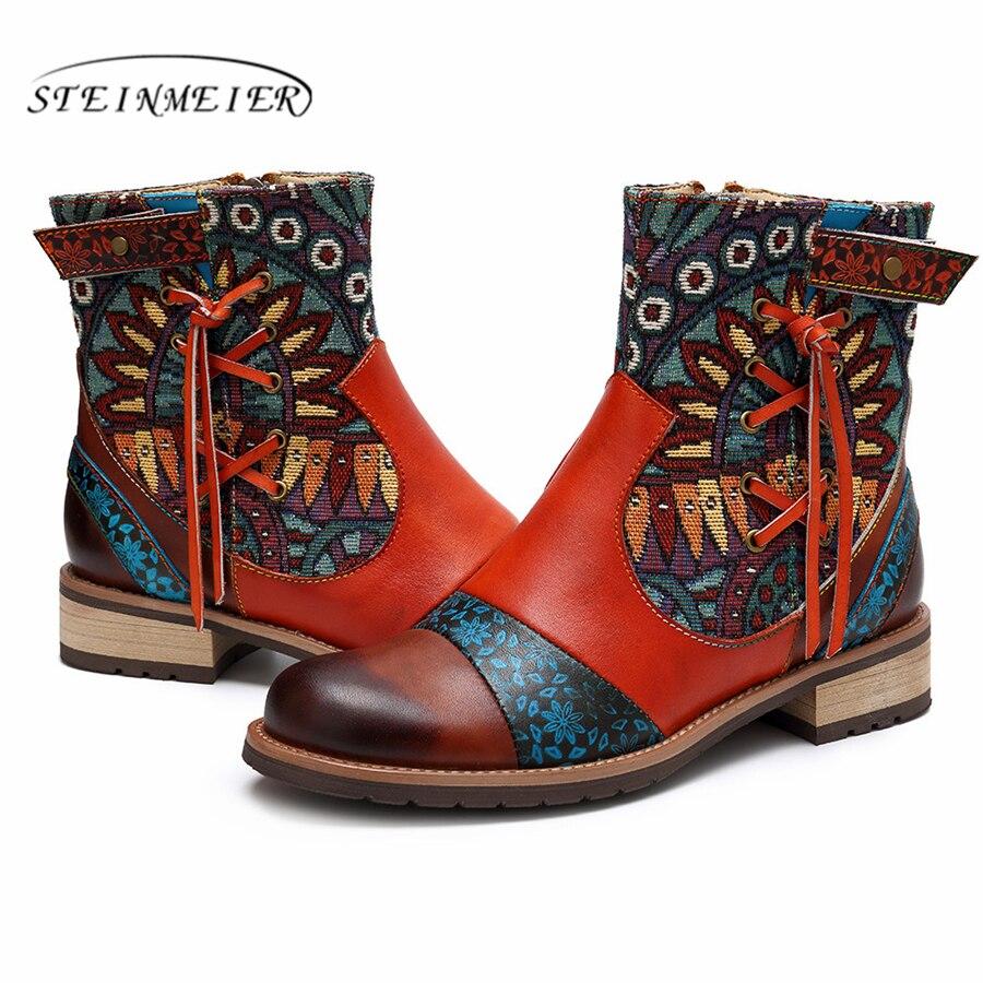 Confortable Couture Red D'hiver Doux Chaussures À Vache Cuir Main La 2019 En De Cheville Femmes Qualité Bottes Véritable Rouge Rétro zwRSqg