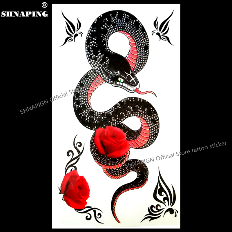 SHNAPIGN Big Black Mamba Snake Temporary Tattoo Body Art Arm Flash Tattoo Stickers 17*10cm Waterproof Fake Henna Painless