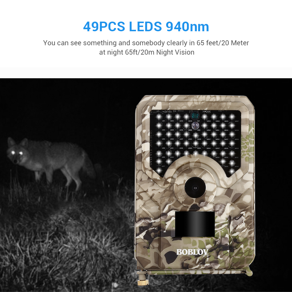 Image 4 - BOBLOV PR200 12MP 49PCS IR Leds Trail Hunting Camera Waterproof Outdoor Video Surveillance Wildlife Cameras Photo Traps w/belt-in Hunting Cameras from Sports & Entertainment