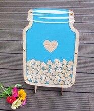 Персонализированные таможенных mason jar деревянный Рамка Свадебный Гостевая книга Baby Shower дерево Dropbox