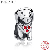 INBEAUT 925 Sterling Silver European Beads Inlaid With Red Rhinestone Dog Charm For Bead Bacelet Charms