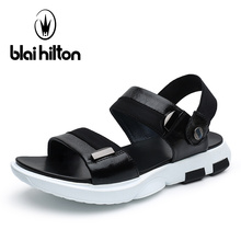 Blaibilton 2017 Summer High Quality Luxury Genuine Leather Sandals Men Shoes Beach Fashion Sandalias Casual Slippers For Mens