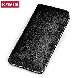 Image 1 - KAVIS 2019 Famous Brand Men Wallets Genuine Leather Coin Purse Male Cuzdan  Clutch Long Business Walet Portomonee Magic Perse