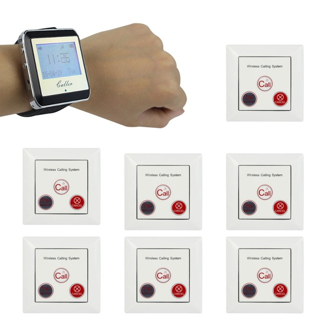 1 Watch Pager Receiver+7 Call Button Wireless Calling System Restaurant Paging System Restaurant Equipment F4422A
