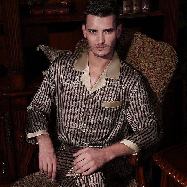 6f281c231c Wholesales Pure Silk Satin Sleepwear Sale Long-Sleeve Men Pyjamas Pajama  Sets Pants 100%