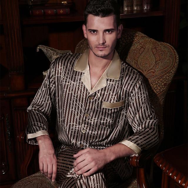 b370752705 YIER Brand Autumn Men Pyjama Sets Silk Sleepwear Long-sleeve Male 100% Mulberry  Silk Two Piece Pajamas Sets Free Shipping