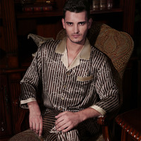 YIER Brand Autumn Men Pyjama Sets Silk Sleepwear Long sleeve Male 100% Mulberry Silk Two Piece Pajamas Sets Free Shipping