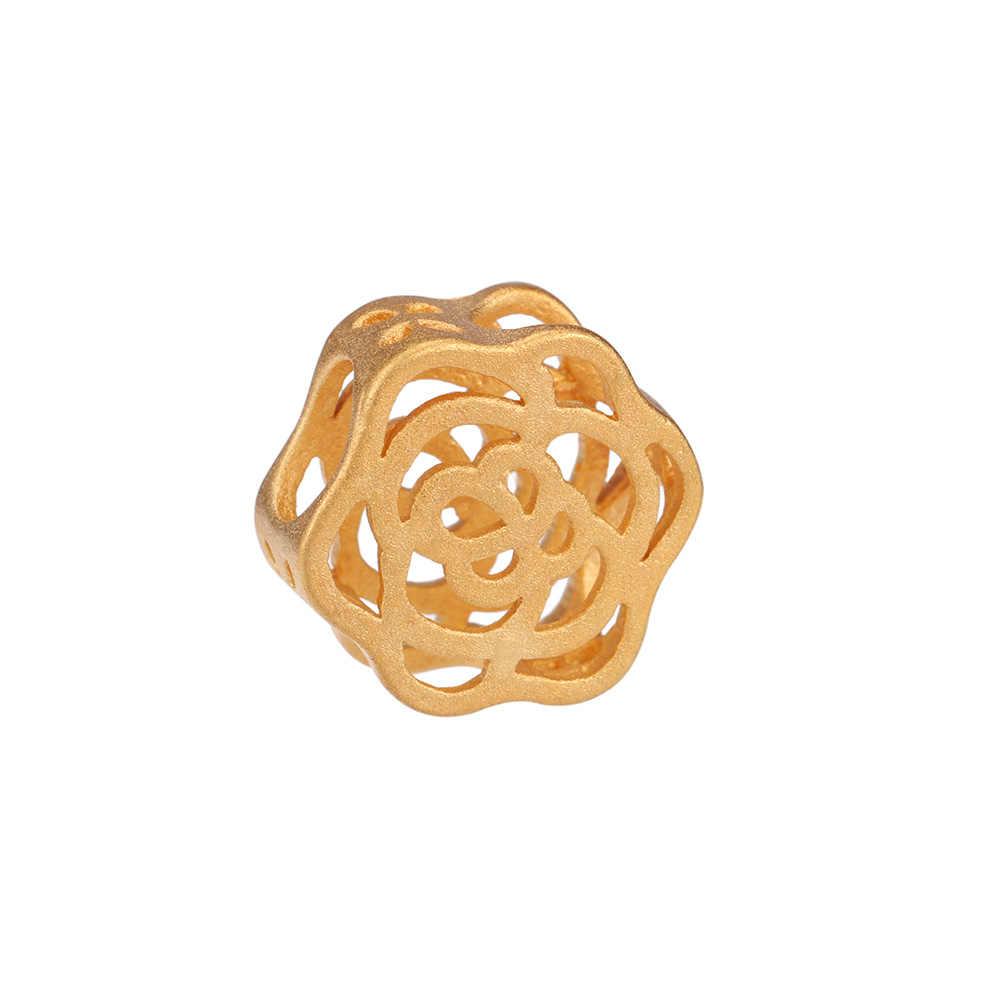 24 K żółty złoty wypełniony 12mm Hollow Rose kwiatowy koralik Fit Charm bransoletka bransoletka koraliki modułowe DIY dla akcesoria do wyrobu biżuterii