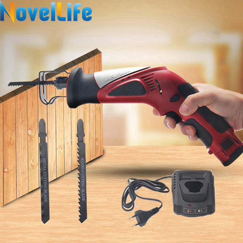 12V Portable Cordless Reciprocating Saw Electric Saber Saw Rechargeable Power Hacksaw with Battery Wood Metal Cutting