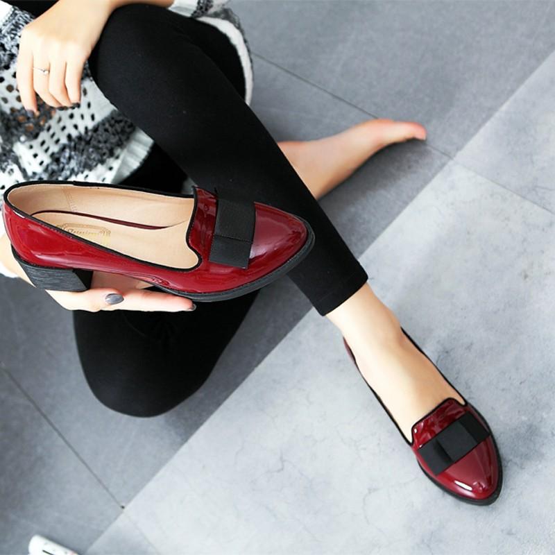 Sweet Bowtie Patent Leather Pumps Round Roe Women\'s Platform Elegant Thick High Heel Shoes Plus Size 34-40 Slip-on High Heels (3)