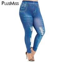 PlusMiss плюс размер 5XL сексуальные эластичные искусственные 3D Джинсы Леггинсы женские джинсовые облегающие Лосины Высокая талия Леггинсы Бол...
