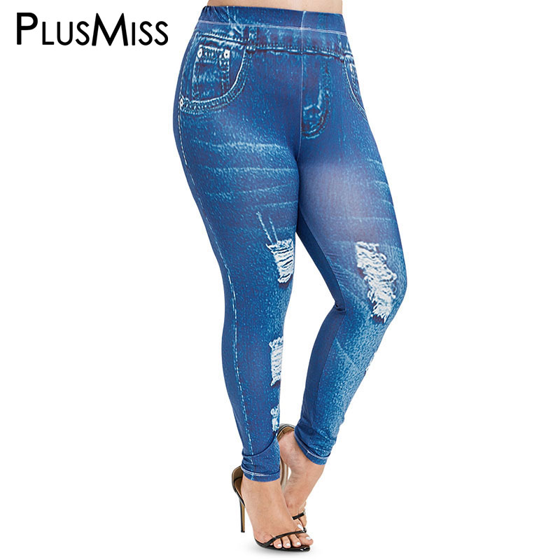 PlusMiss Plus Size 5XL Sexy Elastic Faux 3D Jeans   Leggings   Women Denim Skinny Jeggings High Waist Legins Big Size XXXXL XXXL XXL