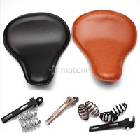 Brown/Black Old School Cafe Motorcycle Solo Seat Torsion Leather+ 3 Springs Mounts Brackets For Harley Chopper Saddle Seat