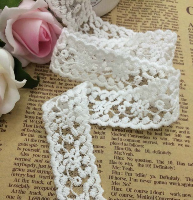 Cheap White Cotton bilateral embroidered lace trim 30 Yards 25mm Mesh  Netting Ribbon Net fabric trim