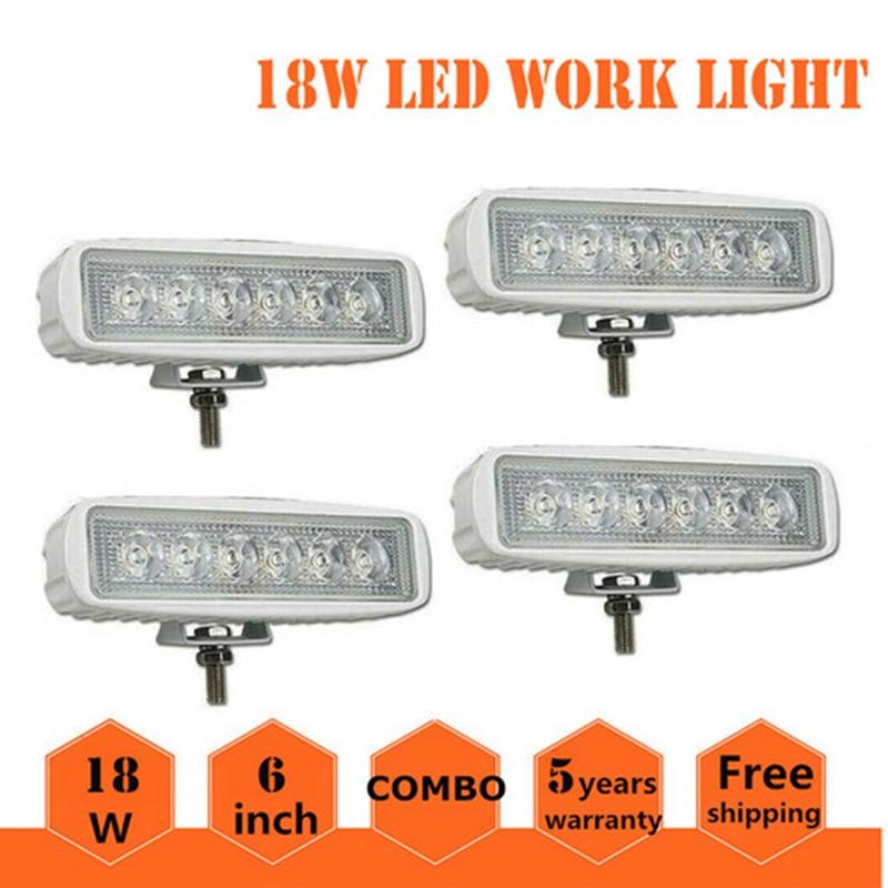 Single Row LED Light Bar 4pcs 18W Driving Lights Led Fog Lights For Boat Truck ATV UTV Motorcycle Lamps