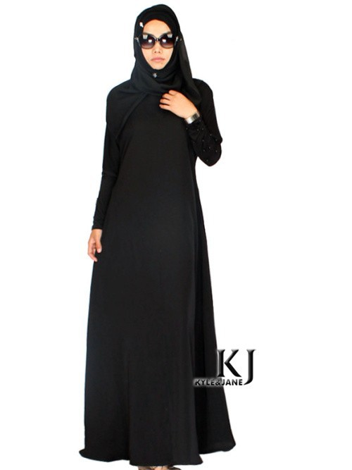 2015 femmes musulmanes robe plus taille abaya dubaï jibabs kaftan manches longues maxi robe noir perles robe vêtement arabe KJ150501C