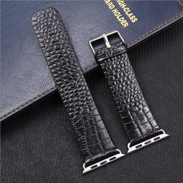 Crocodile Pattern Genuine Leather Watchband for Apple Watch 38mm 42mm Red Business Replace Bracelet Band Strap for iwatch 123 4