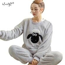 Musim gugur Musim Dingin Wanita Piyama Set Sleepwear pajamas Gugatan Tebal Karang Hangat Flanel baju tidur Wanita Kartun Hewan Pijama Mujer