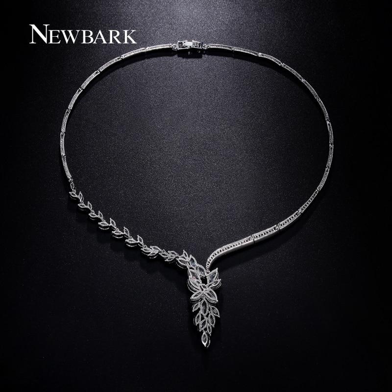 NEWBARK Wedding Jewelry Set Bridal Necklace Flower Stud Earring