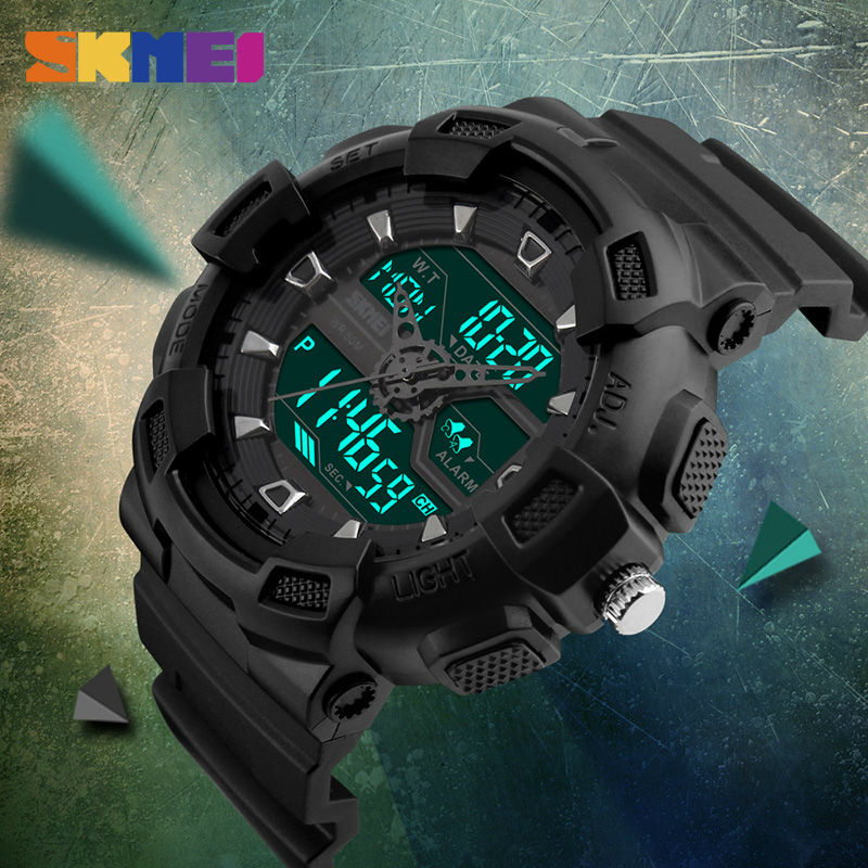 SKMEI Men Outdoor Sports Quartz Watches Fashion Casual Watch Multifunction Waterproof Watches Mens Brand Dual Display Wristwatch цены