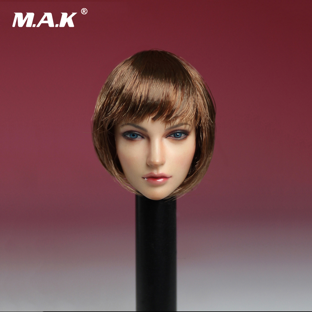 1/6 Female Head Sculpt Short Hair European Beauty Head Carving Model for 12 Inches Female Asian color Action Figure Body недорого