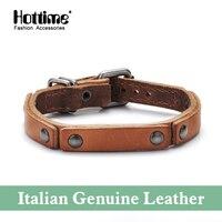 2016 Europe Punk Hand Made Wide Charm Bracelet Bangles Fashion Wristband Cuff Italian Genuine Leather Bracelet