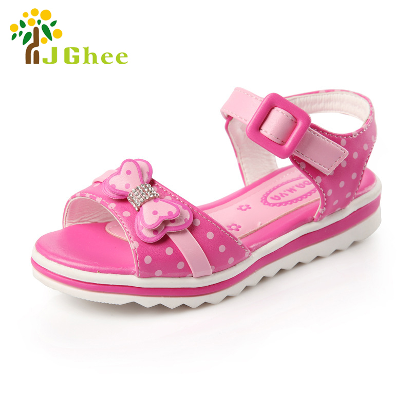 J Ghee 2017 Summer Girls Sandals Kids Shoes Bow knot Bowtie With Rhinestone Fish Mouth Children
