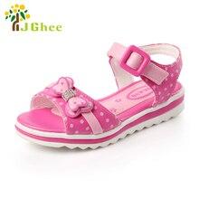 J ghee 2017 d'été filles sandales enfants chaussures arc-noeud noeud papillon avec strass poissons de bouche enfants sandales mode pour 2-9 ans