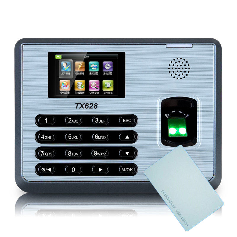 ZK TX628 Punch Card and Fingerprint Time Attendance Employee Attendance Terminal With TCP/IP ZK Fingerprint Time Clock zk tx628 3 inch color screen new tx628 id 125khz tcp ip rs232 485 biometric fingerprint time attendance recorder time clock sdk