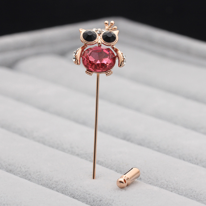 UALGL Fashion Animal Brooch Jewelry Owl Lapel Pin Men Suit Safety Pins Broches Elegant Crystal Brooches For Women Wedding Gift