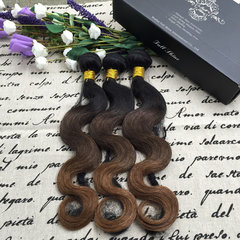 Full Shine 3 Bundles of Brazilian Human Hair Sew in Weave Body Wave 1b 4 30 Ombre Hair Extensions Cheap Human Hair