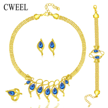 CWEEL Jewelry Sets For Women Wedding Bridal Accessories Water Drop Imitation Crystal Necklace Earrings Set Gold Plated Jewellery