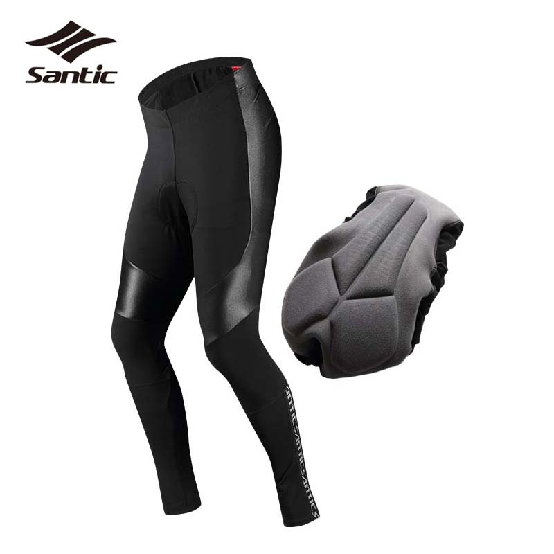 5d5d353027f15 SANTIC Winter Cycling Pants Men Fleece Thermal Mountain Road Bike Pants Pro Padded  Tights Riding Long Trousers Bicycle Pants