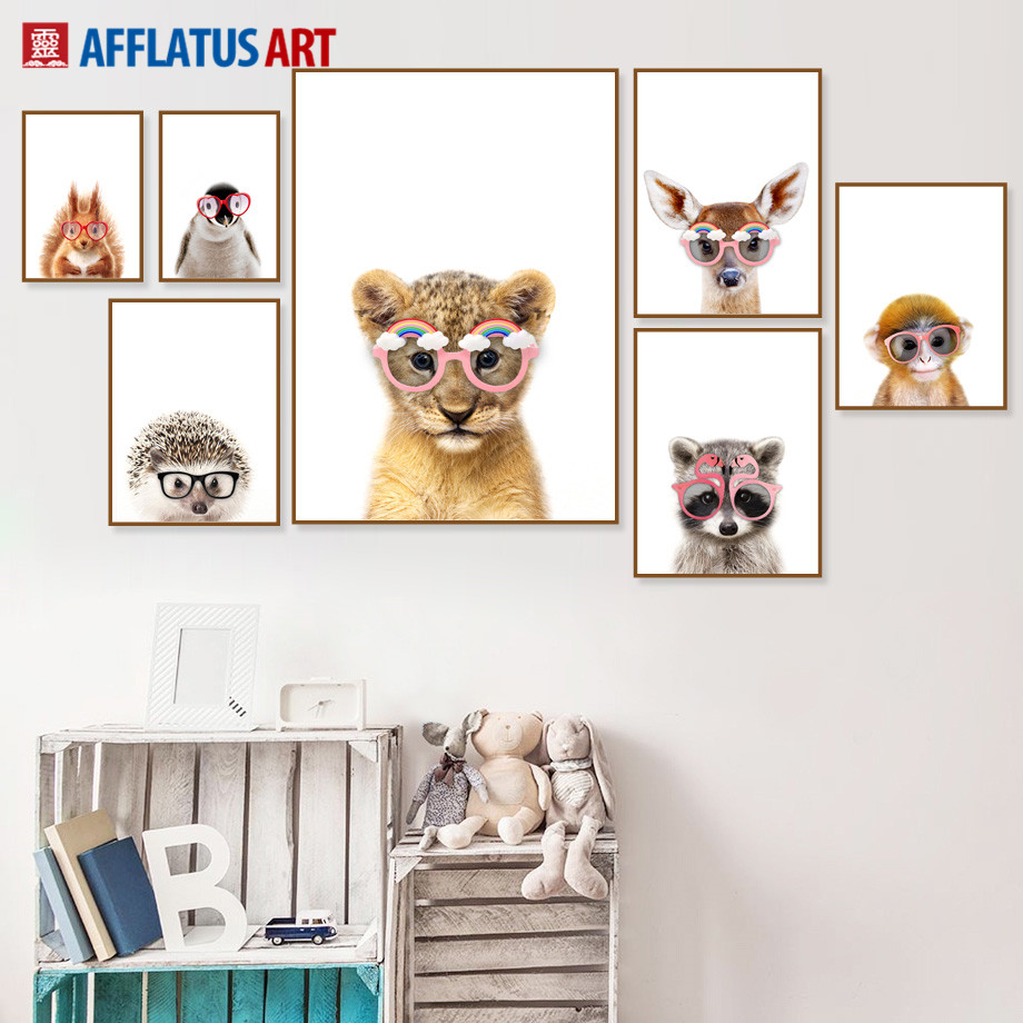 Bear Deer Fox Lion Raccoon Wall Art Canvas Painting Nordic Posters And Prints Cute Animals Wall Pictures For Kids Room Decor