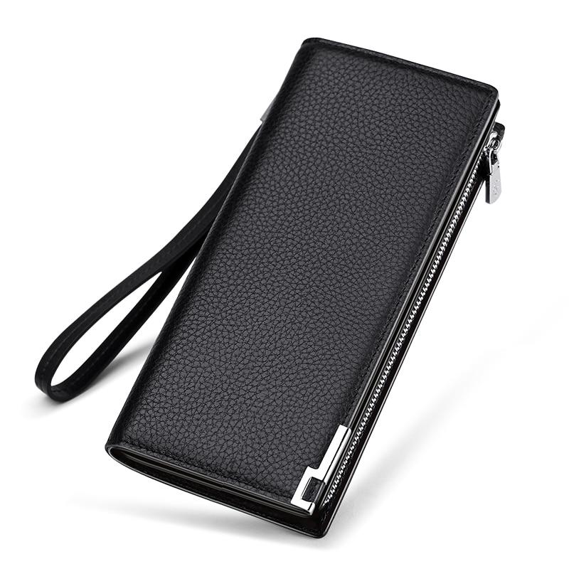 Mens Wallet Zipper Hasp Design Long Genuine Leather Business Phone For Credit Cards Clutch Wallet Men Gift