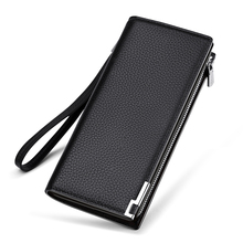 Mens Wallet Zipper Hasp Design Long Genuine Leather Business Phone For Credit Cards Clutch Men Gift