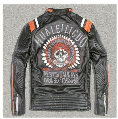 Free shipping.DHL Brand clothing genuine leather Jackets,men's Leather biker jacket.motorcycle winter warm slim cool vintage