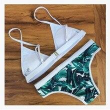 Swimwear Women Green Leaf Print Bikini Woman New Summer Sexy Brazilian Padded Swimsuit Bath Suit Bikini set