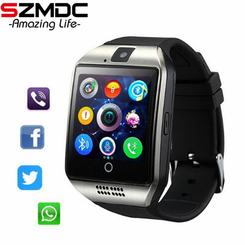 SZMDC Bluetooth Smart Watch in Q18 Con La Macchina Fotografica Whatsapp Facebook Twitter Sync SMS SIM carta di Tf di Sostegno Smartwatch Per IOS Android