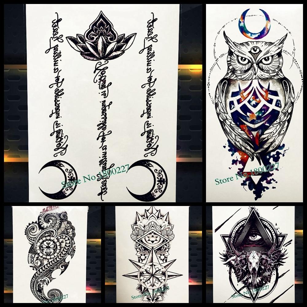 US $0.88 23% OFF|Islamic Muslim Arabic Quote Temporary Tattoo Black Lotus  Waterproof Fake Tattoo Sticker Mosque God Allah Quran Tatoo Moon Letter-in  ...