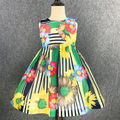Girls Dresses 2016 Spring And Summer Children's Clothes color stripes printed Lovely Princess Dresses Holiday Party