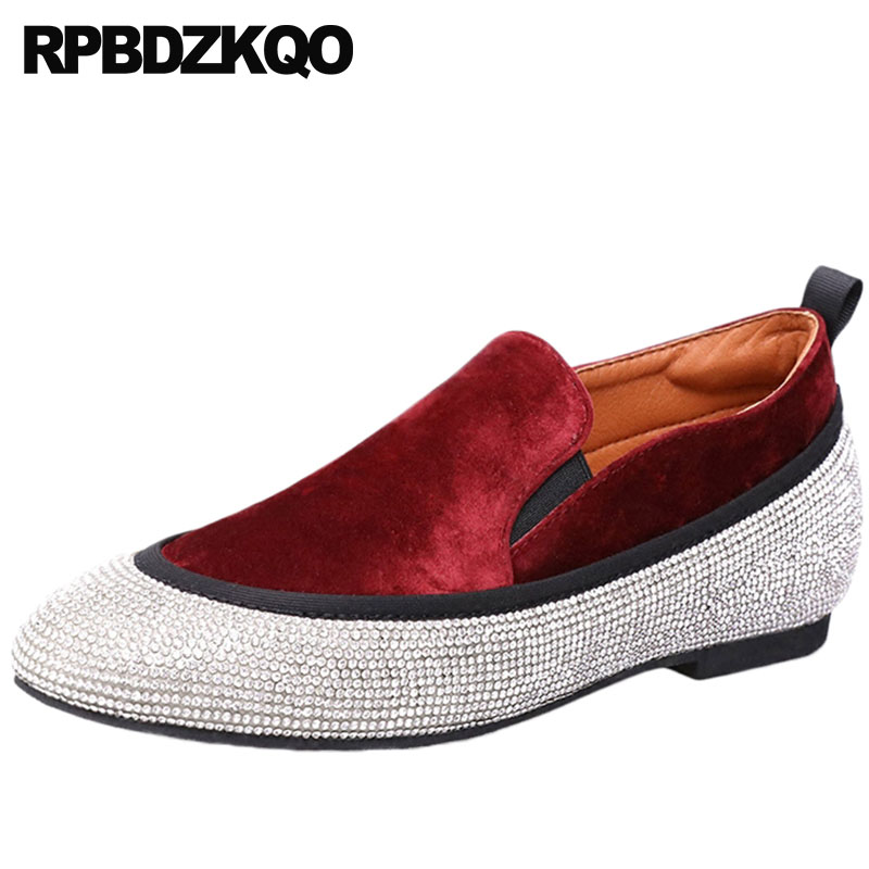 Velvet Size 43 Party 10 Large 11 Rhinestone Loafers Flats Crystal Elevator Designer Red Wine Women Dress Shoes Height Increasing