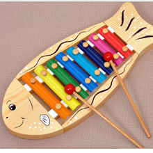 D635 Free shipping and high quality Wooden fish on piano Eight Wooden percussion instruments toys for 1 to 3 years old baby