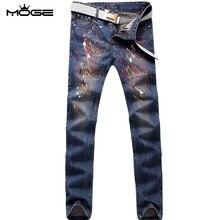 MOGE мужчины печати slim fit джинсы мода хип-хоп джинсы pantacourt homme pantalones tobillo мужчины ночной клуб